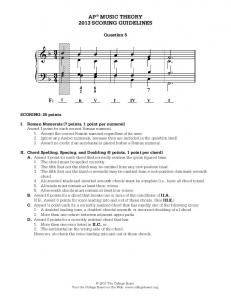 AP MUSIC THEORY 2013 SCORING GUIDELINES