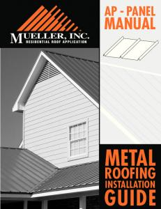 AP - PANEL MANUAL METAL ROOFING INSTALLATION GUIDE
