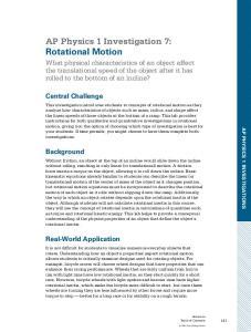 AP Physics 1 Investigation 7: Rotational Motion