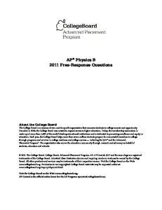 AP Physics B 2011 Free-Response Questions
