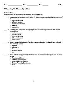 AP Psychology Ch 10 Personality Self-Test