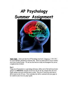 AP Psychology Summer Assignment