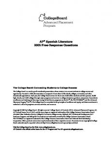 AP Spanish Literature 2005 Free-Response Questions