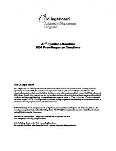 AP Spanish Literature 2009 Free-Response Questions