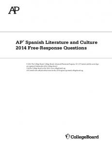 AP Spanish Literature and Culture 2014 Free-Response Questions