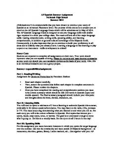 AP Spanish Summer Assignment McIntosh High School Summer 2015
