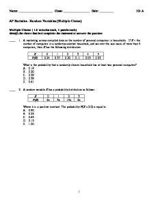 AP Statistics - Random Variables (Multiple Choice)