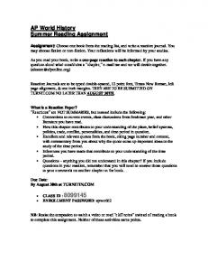 AP World History Summer Reading Assignment