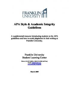 APA Style & Academic Integrity Guidelines