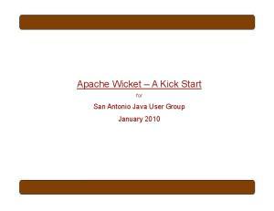 Apache Wicket A Kick Start
