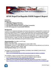 APAN Nepal Earthquake HADR Support Report