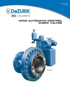 APCO AUTOMATIC CONTROL CHECK VALVES