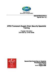 APEC Framework Supply Chain Security Specialist Training