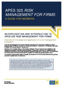 APES 325 RISK MANAGEMENT FOR FIRMS