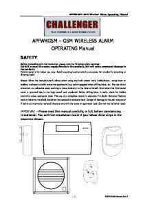 APFWKGSM GSM WIRELESS ALARM OPERATING Manual