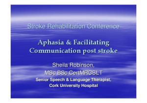 Aphasia & Facilitating Communication post stroke