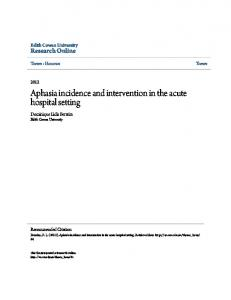 Aphasia incidence and intervention in the acute hospital setting