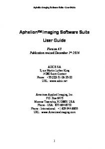 Aphelion Imaging Software Suite User Guide