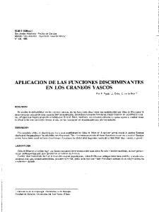 APLICACION DE LAS FUNCIONES DISCRIMINANTES EN LOS CRANEOS V ASCOS