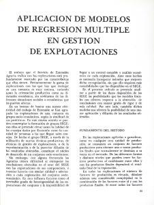APLICACION DE MODELOS DE REGRESION MULTIPLE EN GESTION DE EXPLOTACIONES