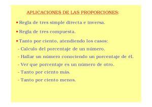 APLICACIONES DE LAS PROPORCIONES: