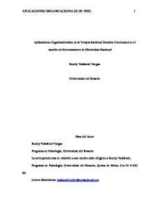 APLICACIONES ORGANIZACIONALES DE TREC 1. Aplicaciones Organizacionales de la Terapia Racional Emotiva Conductual en el
