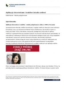 Aplikacje internetowe i mobilne (studia online)