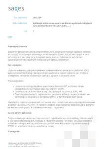 Aplikacje internetowe oparte na kluczowych technologiach Java Enterprise(Servlet,JSP,JDBC, )