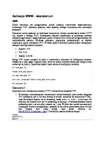 Aplikacje WWW - laboratorium