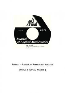 APLIMAT - JOURNAL OF APPLIED MATHEMATICS VOLUME 5 (2012), NUMBER 3