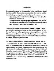 apostasy globally applied pressures False Prophets