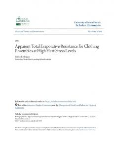 Apparent Total Evaporative Resistance for Clothing Ensembles at High Heat Stress Levels