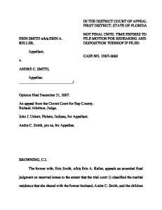 Appellant, CASE NO. 1D