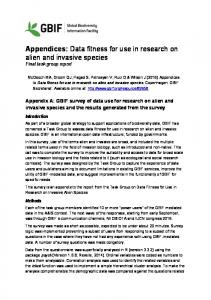 Appendices: Data fitness for use in research on alien and invasive species Final task group report