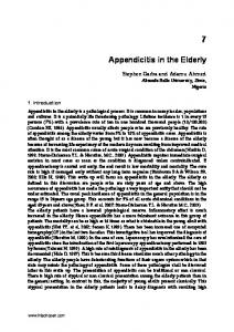 Appendicitis in the Elderly