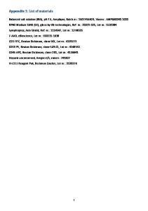 Appendix 1: List of materials