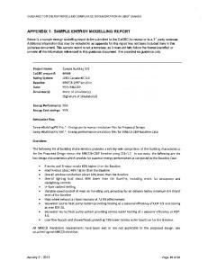 APPENDIX 1: SAMPLE ENERGY MODELLING REPORT