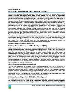 APPENDIX 3-1 HOUSING PROGRAMS IN KENOSHA COUNTY