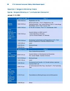 Appendix 4: Bangalore Workshop Details
