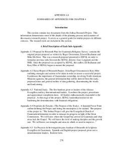 APPENDIX 4.0 SUMMARIES OF APPENDICES FOR CHAPTER 4. Introduction. A Brief Description of Each Sub-Appendix