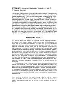APPENDIX 7.1. Stimulant Medication Treatment of ADHD: