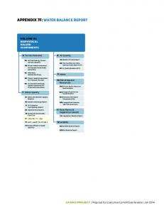 APPENDIX 7F: WATER BALANCE REPORT
