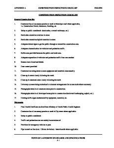 APPENDIX A CONSTRUCTION INSPECTION CHECKLIST FEB.1994 CONSTRUCTION INSPECTION CHECKLIST