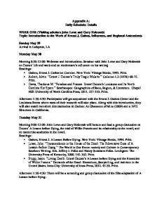 Appendix A: Daily Schedule: Details