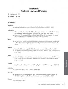 APPENDIX A: Featured Laws and Policies