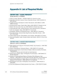 Appendix A: List of Required Works