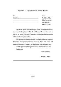 Appendix A : Questionnaire for the Teacher