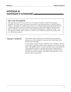 APPENDIX B: ASPERGER S SYNDROME