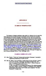 APPENDIX B CLASSICAL VERSIFICATION