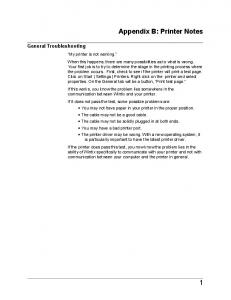 Appendix B: Printer Notes General Troubleshooting